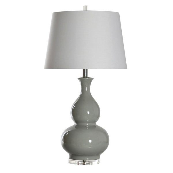 Ceramic Cool Gray Table Lamp - White Shade