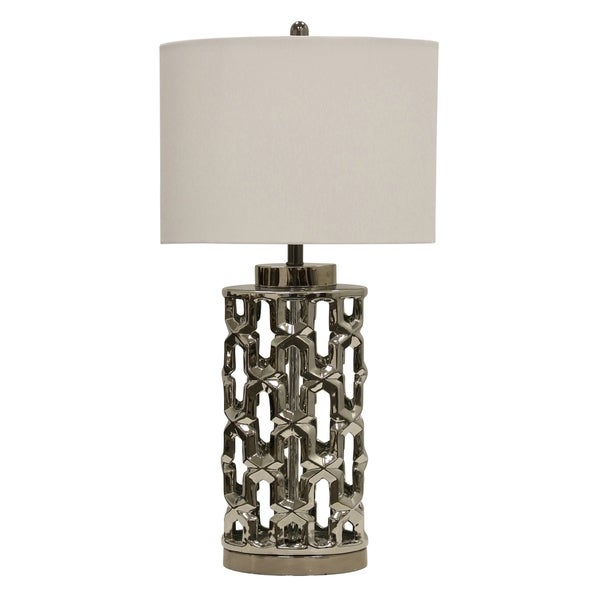 StyleCraft Transitional Silver Metal Table Lamp - White Hardback Shade
