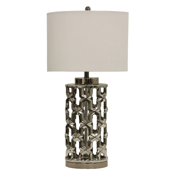 Transitional Silver Metal Table Lamp - White Hardback Shade
