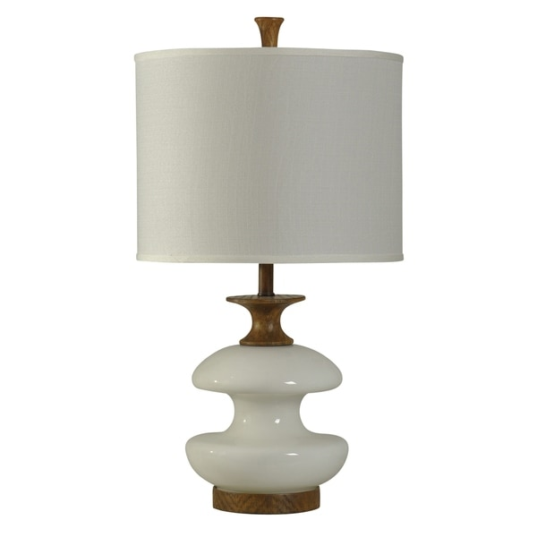 StyleCraft Chevelle Natural Wood And White Accent Table Lamp - White Hardback Fabric Shade