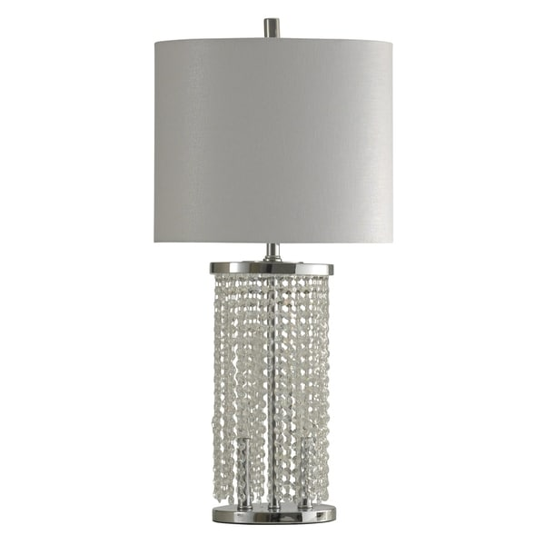StyleCraft Polished Steel Table Lamp - White Hardback Fabric Shade