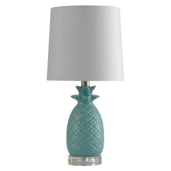 Ceramic Seafoam Table Lamp - White Hardback Fabric Shade