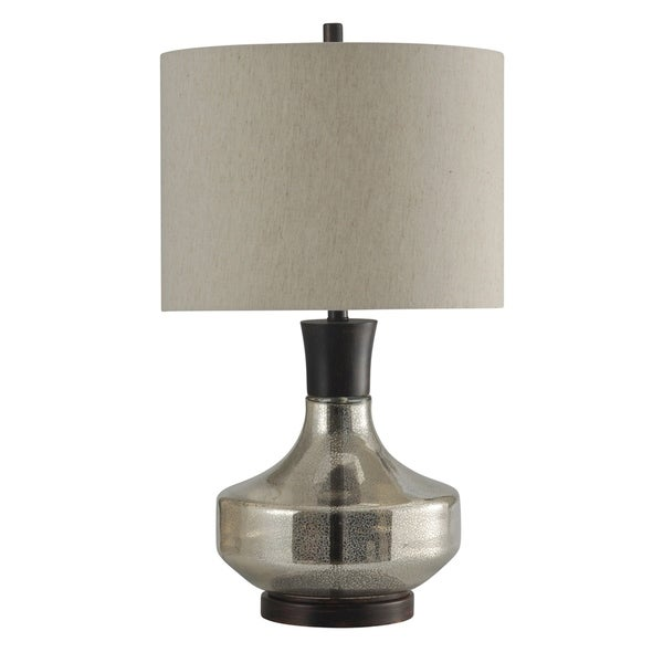 StyleCraft Mercury Glass Table Lamp - Taupe Hardback Fabric Shade