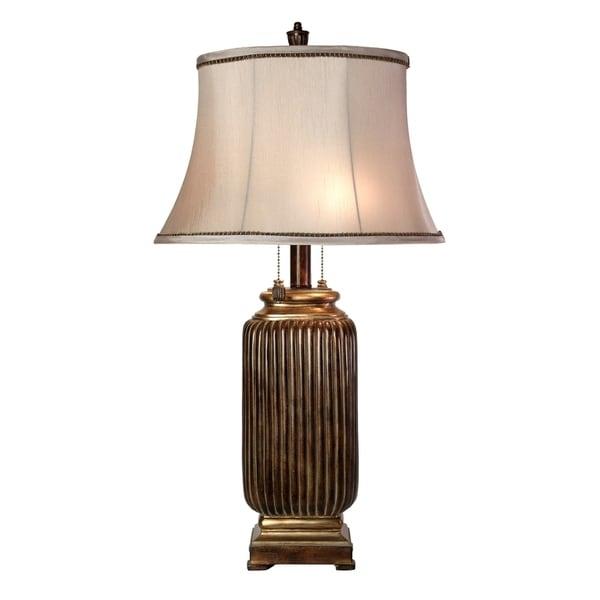 Winthrop Dark Brown With Khasi Silver Table Lamp - Silver Fabric Shade