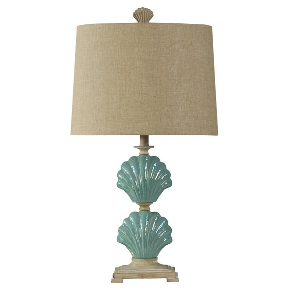 StyleCraft Gili Beach Light Blue Ceramic Table Lamp - White Hardback Fabric Shade