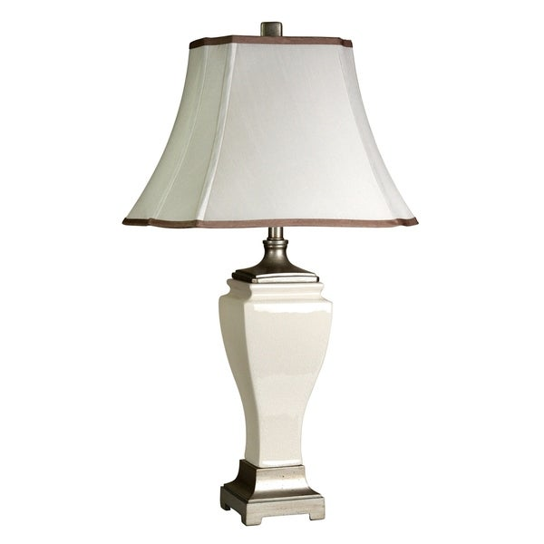 Cream Crackle Table Lamp - White Fabric Shade