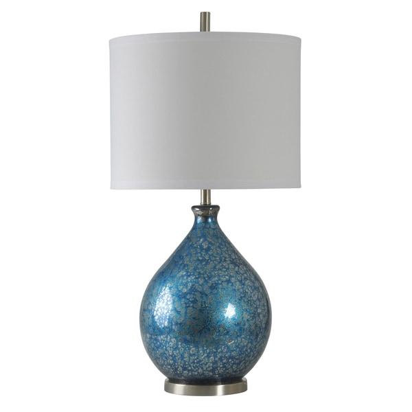 StyleCraft Memphis Blue Mercury Table Lamp - White Hardback Fabric Shade