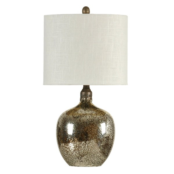 StyleCraft Light Brown Mercury Table Lamp - White Hardback Fabric Shade
