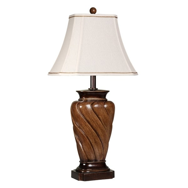 Toffee Wood Table Lamp - White Fabric Shade