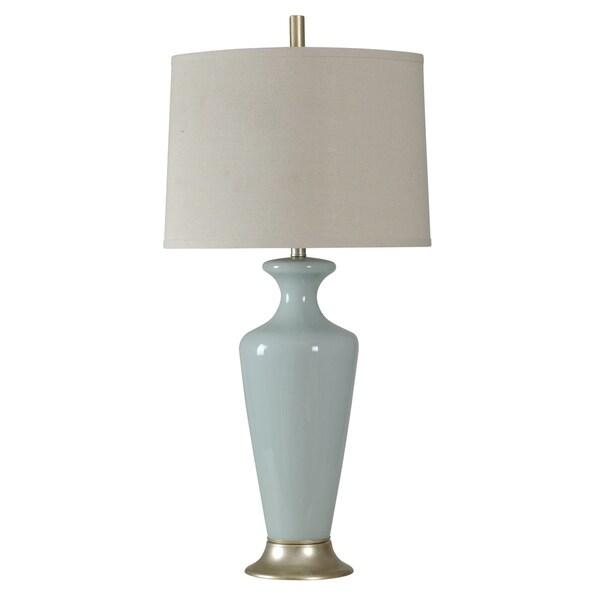 Clairtone Blue Table Lamp - White Hardback Fabric Shade