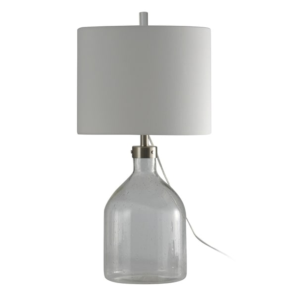 StyleCraft Clear Seeded Table Lamp - White Hardback Fabric Shade