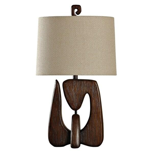 Contemporary Chestnut Table Lamp - Beige Hardback Fabric Shade