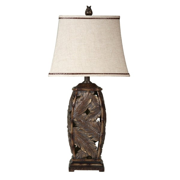 StyleCraft Bermuda Brown Table Lamp - Off-white Fabric Shade