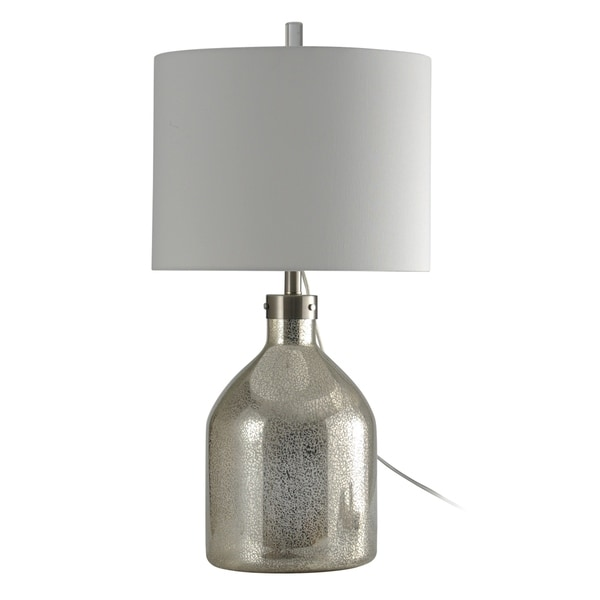 Northbay Mercury Glass Table Lamp - White Hardback Fabric Shade