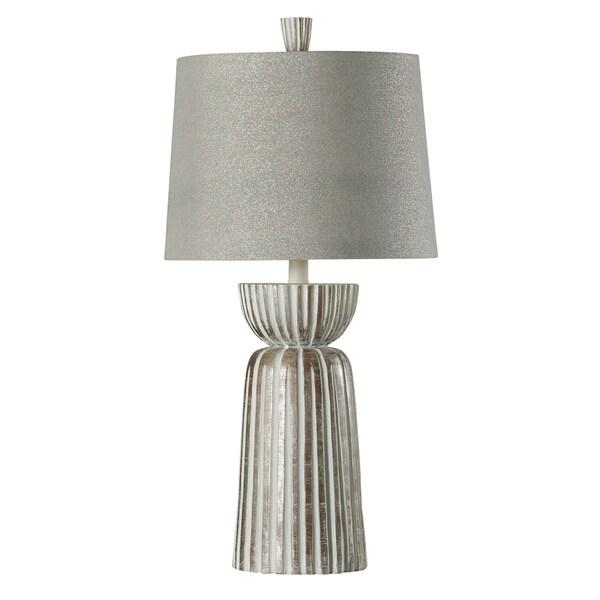 StyleCraft Mcallen White Table Lamp - Taupe Hardback Fabric Shade