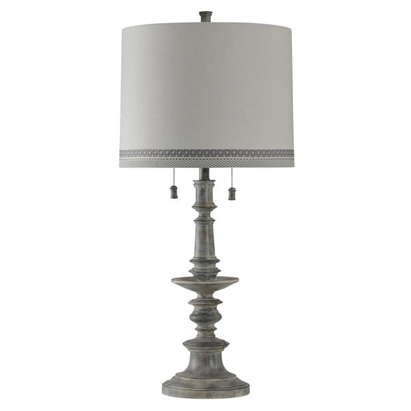 Grayson Washed Gray Table Lamp - White Hardback Fabric Shade
