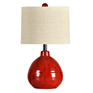Accent Apple Red Table Lamp - White Linen Shade