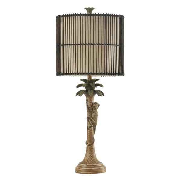 StyleCraft Kohala Brown and Green Table Lamp - Brown Rattan Hardback Fabric Shade