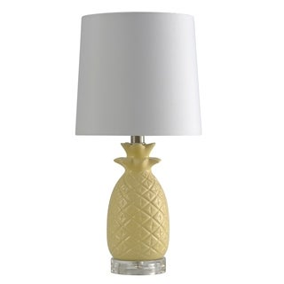 Ceramic Yellow Table Lamp - White Hardback Fabric Shade