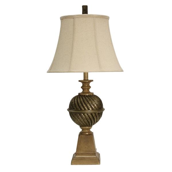 StyleCraft India Gold Table Lamp - Cream Softback Fabric Shade