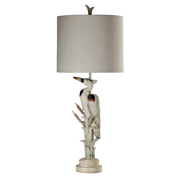 StyleCraft White Table Lamp - Taupe Hardback Fabric Shade