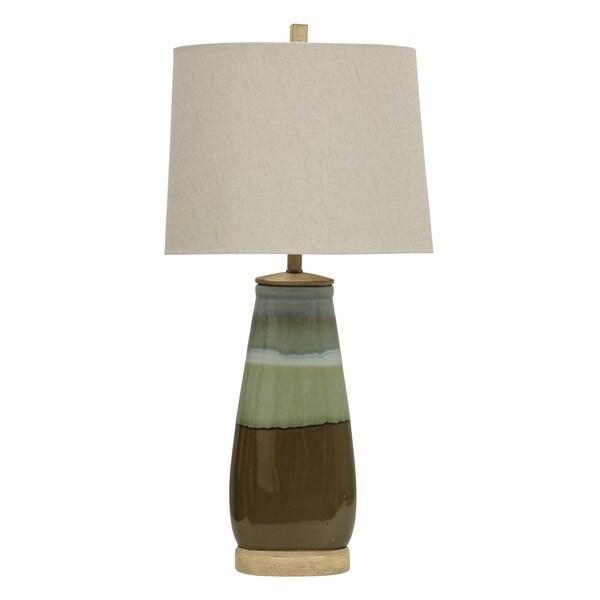 Millville Millville Reactive Glaze Ceramic Table Lamp - White Hardback Shade