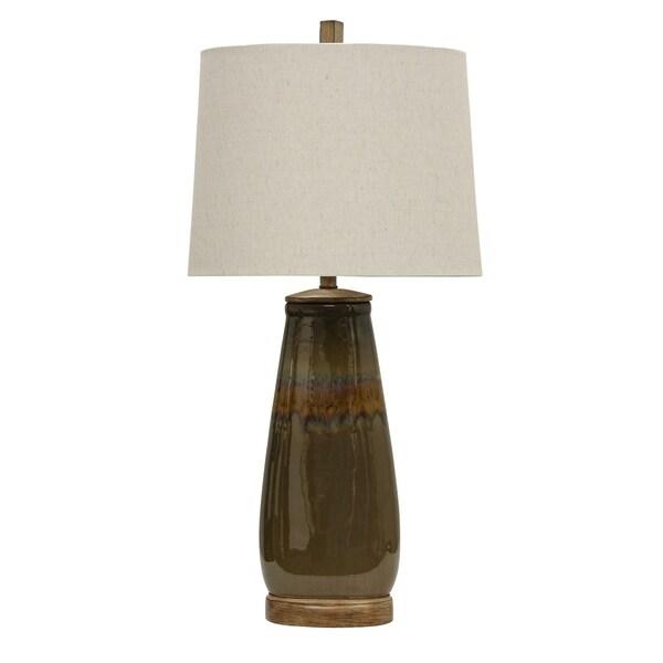 Bostock Bostock Reactive Glaze Ceramic Table Lamp - White Hardback Shade