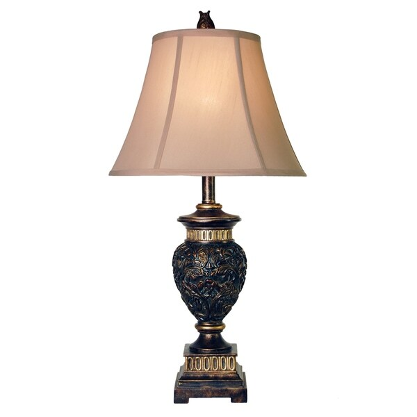 Passo Ambrose Dark Blue And Gold Table Lamp - Taupe Fabric Shade