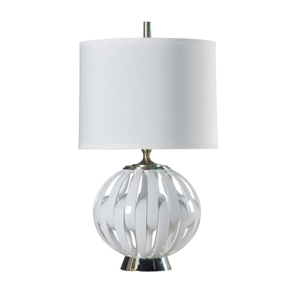 StyleCraft Ocala Contemporary White Table Lamp - White Hardback Fabric Shade