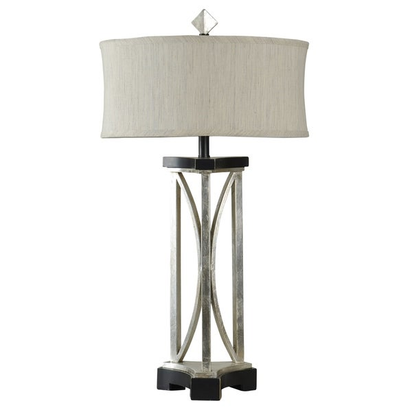 StyleCraft Fallon Black and Stainless Steel Table Lamp - Beige Softback Fabric Shade