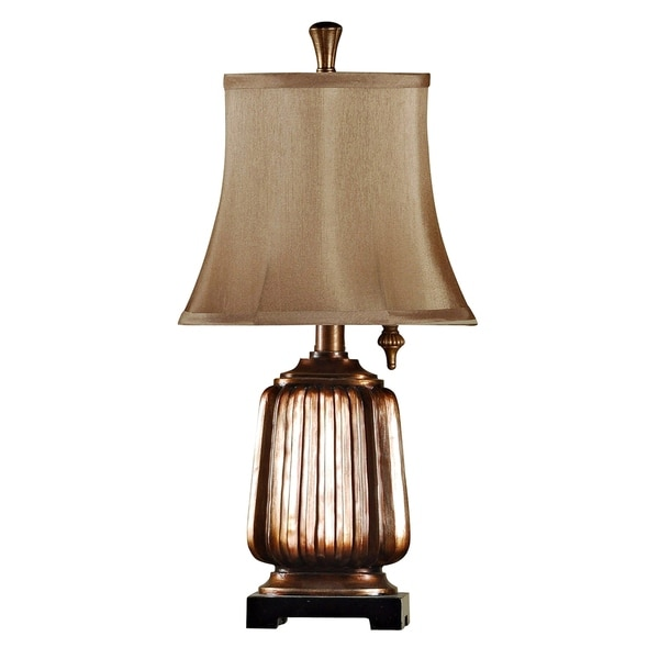 Antique Copper Mini Accent Table Lamp - Brown Softback Fabric Shade