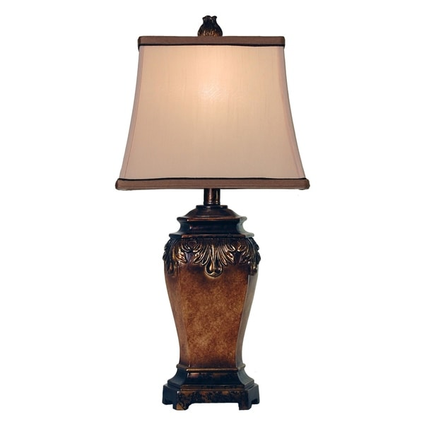 Maximus Bronze Table Lamp - Taupe Fabric Shade