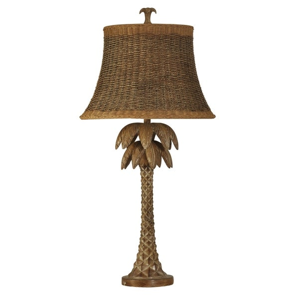 Kerala Natural Wood Table Lamp - Brown Woven Rattan Shade
