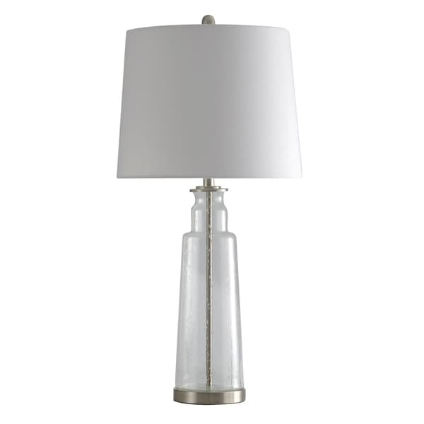StyleCraft Clear Seeded With Brass Steel Table Lamp - White Hardback Fabric Shade