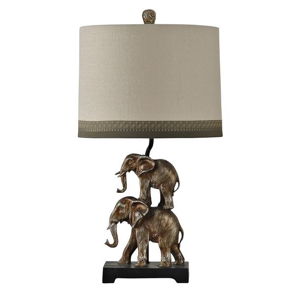 Kolkata Antique Silver Table Lamp - Taupe Hardback Fabric Shade