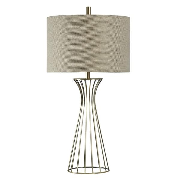Antique Brass Table Lamp - Beige Hardback Fabric Shade