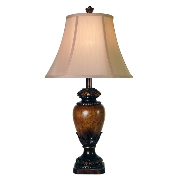 Brown Table Lamp - Taupe Fabric Shade