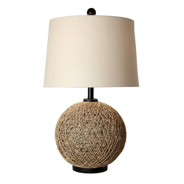 StyleCraft Natural Rope Table Lamp - Beige Hardback Fabric Shade