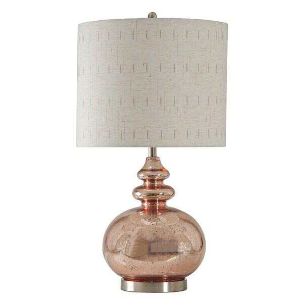 Gemvara Rose Gold Table Lamp Beige Designer Print Hardback Fabric Shade