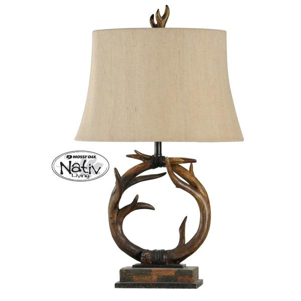 Dalton Dark Brown Table Lamp - Beige Hardback Fabric Shade