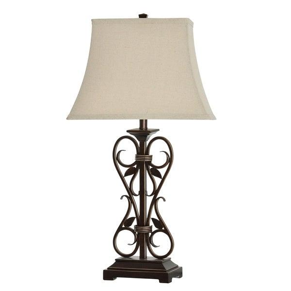 Alhandra Dark Bronze Table Lamp - White Linen Shade