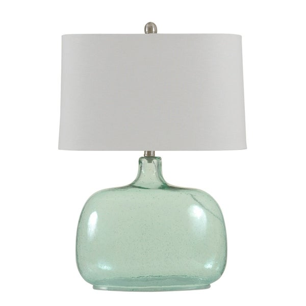 StyleCraft Teal Seeded Table Lamp - White Hardback Fabric Shade