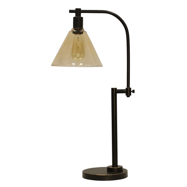 StyleCraft Madison Bronze Table Lamp - Clear Glass Shade