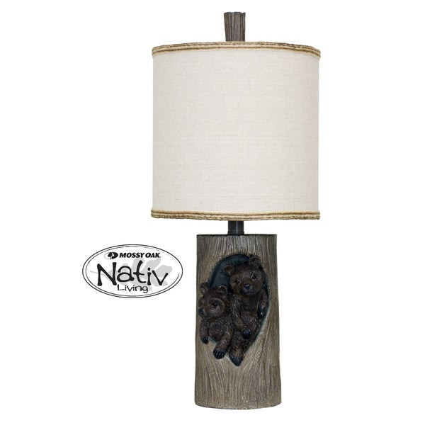 Plentywood Grey and Brown Accent Table Lamp - White Hardback Fabric Shade