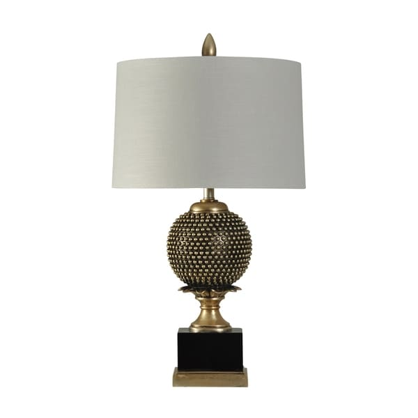 StyleCraft Boston Hill Black and Gold Table Lamp - White Hardback Fabric Shade