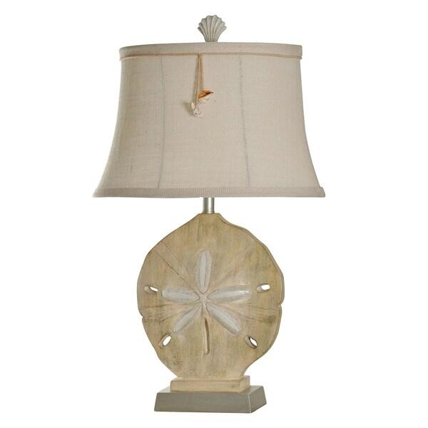 Vipiteno Sandstone Silver Table Lamp - White Softback Fabric Shade