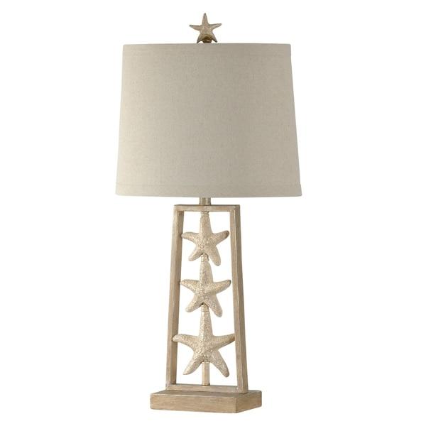 StyleCraft Sandstone Table Lamp - White Hardback Fabric Shade
