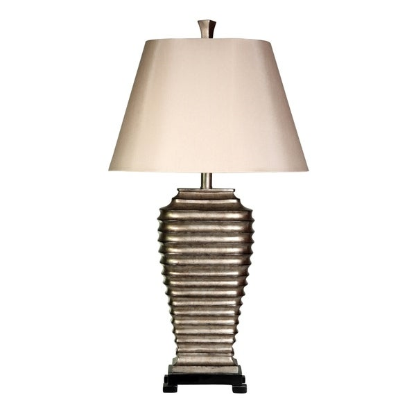 StyleCraft Laslo Silver Table Lamp - Cream Hardback Fabric Shade
