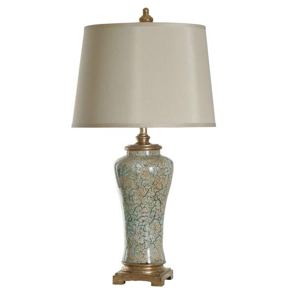 Caledonia Blue And Gold Table Lamp - Cream Hardback Fabric Shade