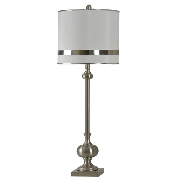 StyleCraft Brushed Steel Table Lamp - White Hardback Fabric Shade